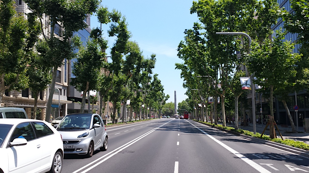 crossing Avenida Diagonal on a clear, sunny day