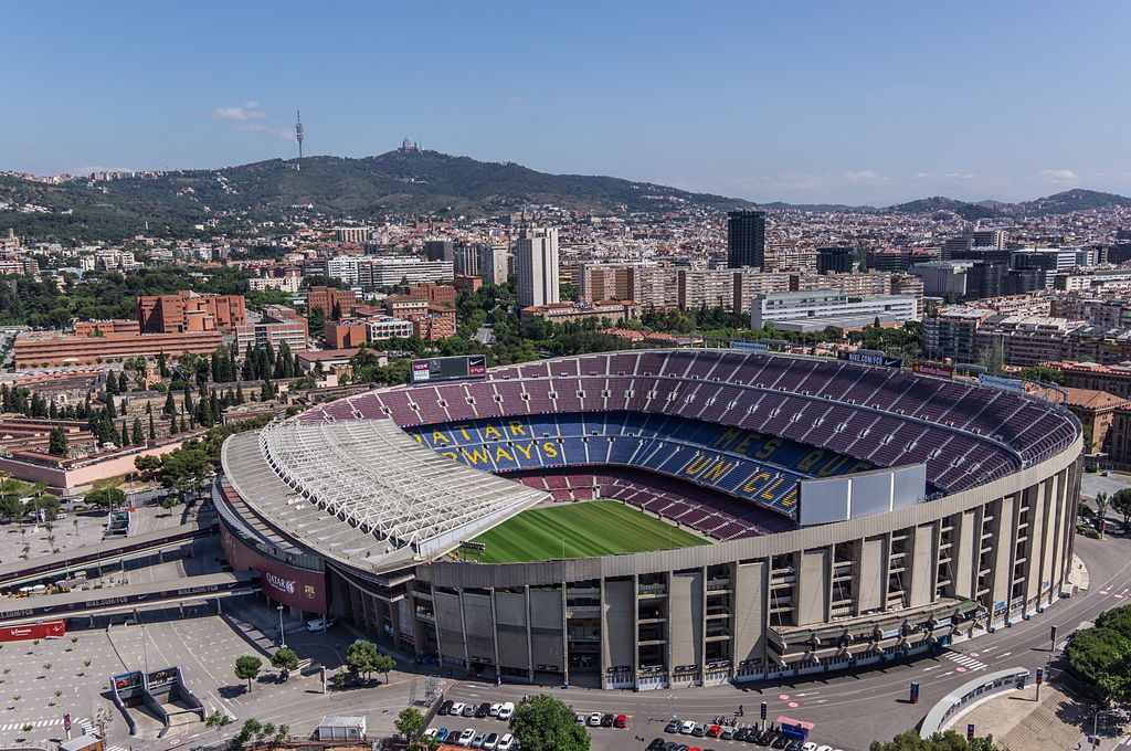 Camp nou and futbol club Barcelona, the home club for Messi in Barcelona