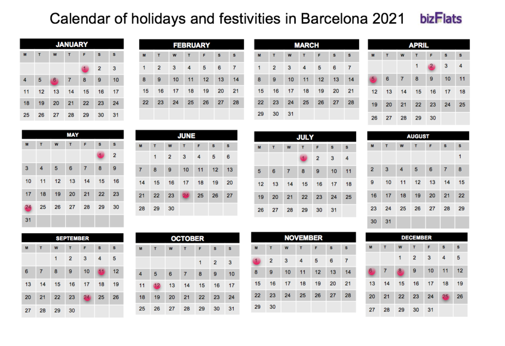 Barcelona Calendar - Calendar of holidays and festivities in Barcelona 2021