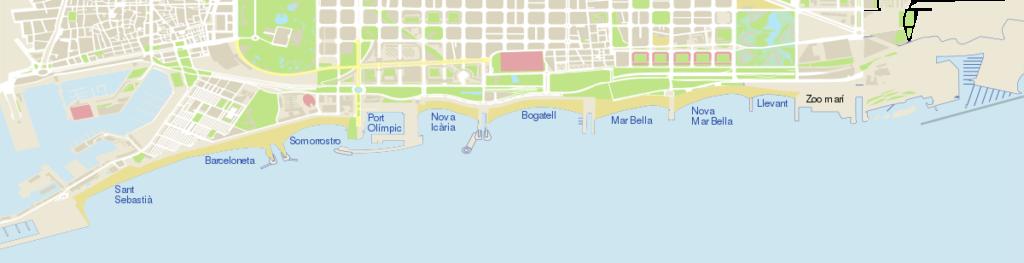 Barcelona beaches map